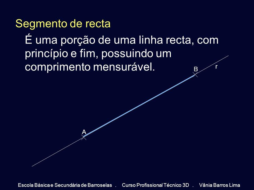 Segmento de recta É uma porção de uma linha recta, com princípio e fim, possuindo um comprimento mensurável.