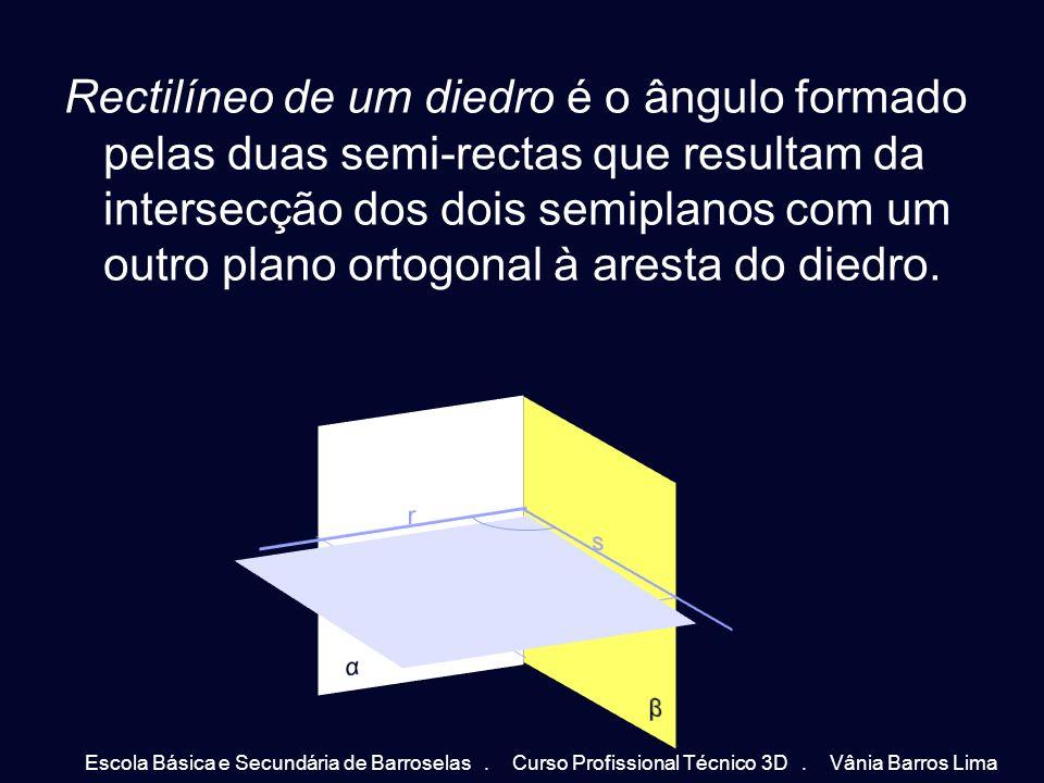 Rectilíneo de um diedro é o ângulo formado pelas duas semi-rectas que resultam da intersecção dos dois semiplanos com um outro plano ortogonal à aresta do diedro.