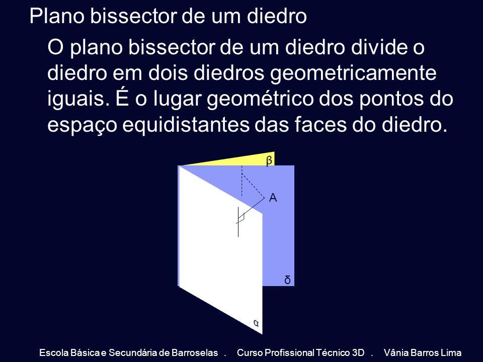 Plano bissector de um diedro O plano bissector de um diedro divide o diedro em dois diedros geometricamente iguais. É o lugar geométrico dos pontos do espaço equidistantes das faces do diedro.