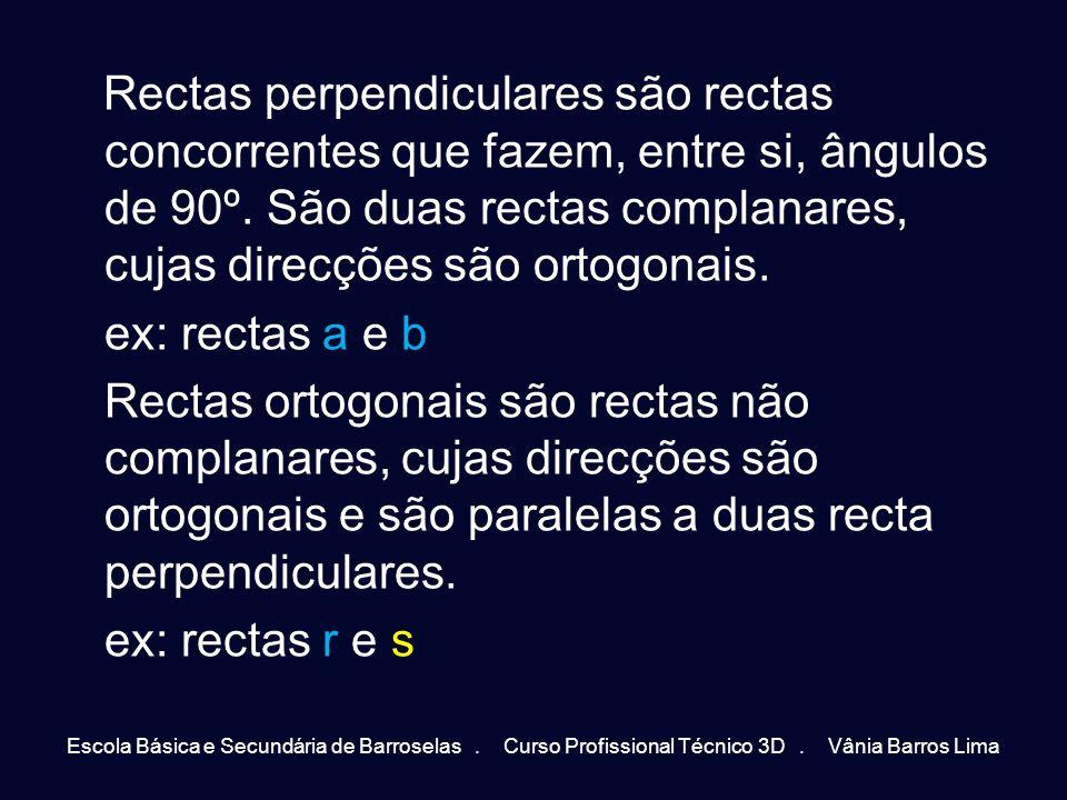 Rectas perpendiculares são rectas concorrentes que fazem, entre si, ângulos de 90º. São duas rectas complanares, cujas direcções são ortogonais. ex: rectas a e b Rectas ortogonais são rectas não complanares, cujas direcções são ortogonais e são paralelas a duas recta perpendiculares. ex: rectas r e s