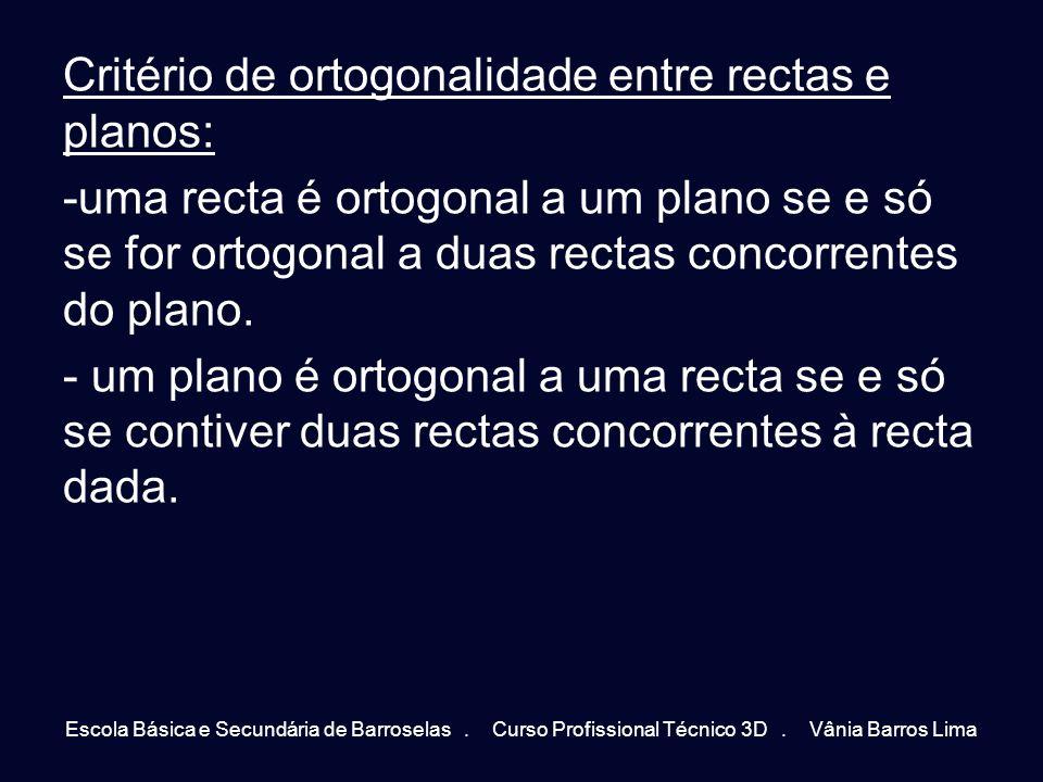 Critério de ortogonalidade entre rectas e planos: