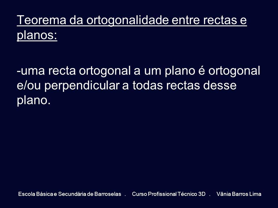 Teorema da ortogonalidade entre rectas e planos: