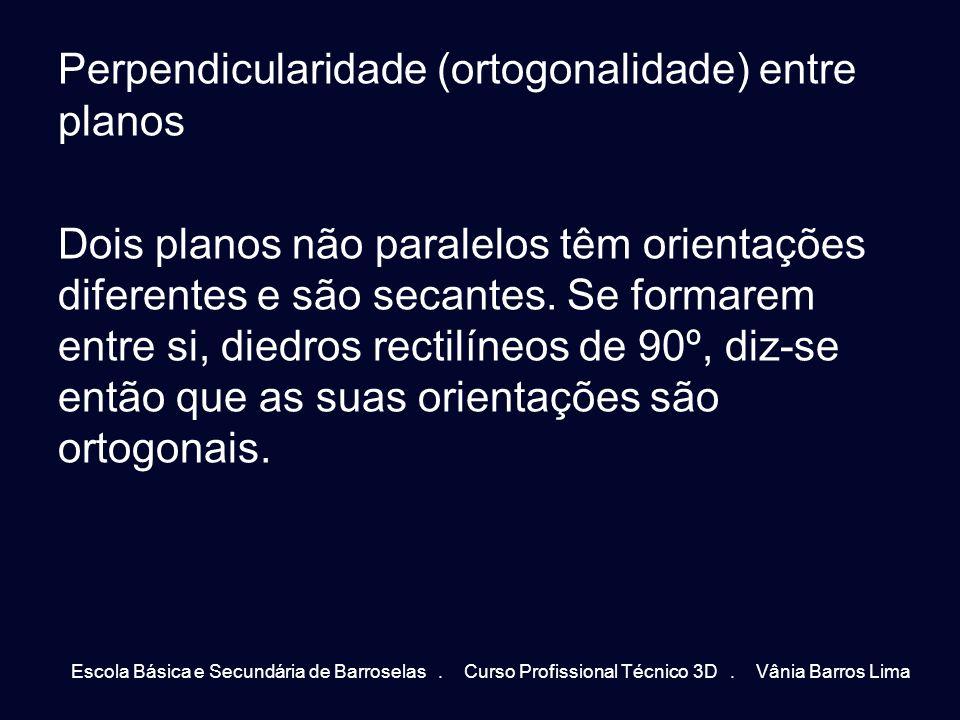 Perpendicularidade (ortogonalidade) entre planos Dois planos não paralelos têm orientações diferentes e são secantes. Se formarem entre si, diedros rectilíneos de 90º, diz-se então que as suas orientações são ortogonais.