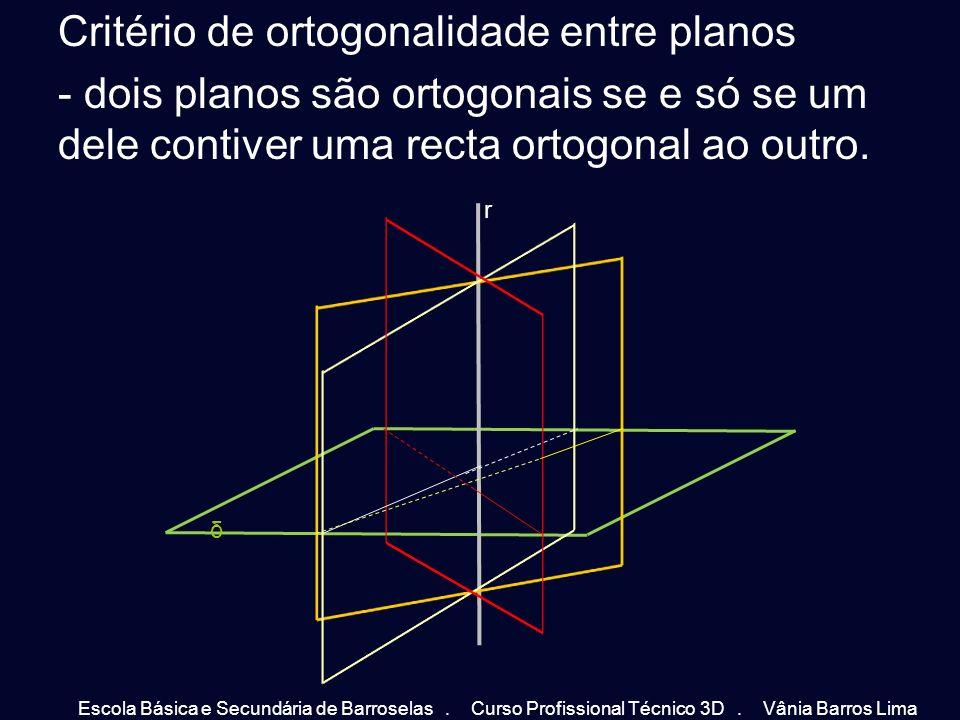 Critério de ortogonalidade entre planos - dois planos são ortogonais se e só se um dele contiver uma recta ortogonal ao outro.