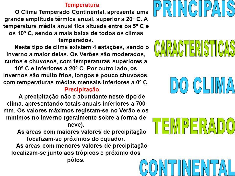 PRINCIPAIS CARACTERISTICAS DO CLIMA TEMPERADO CONTINENTAL Temperatura