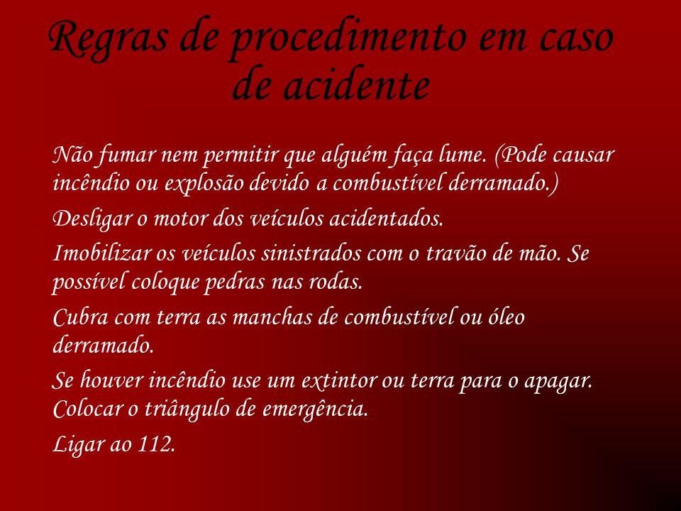 Regras de procedimento em caso de acidente