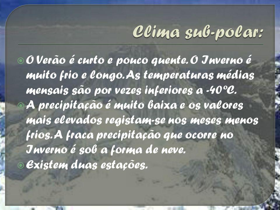 Clima sub-polar: O Verão é curto e pouco quente. O Inverno é muito frio e longo. As temperaturas médias mensais são por vezes inferiores a -40ºC.
