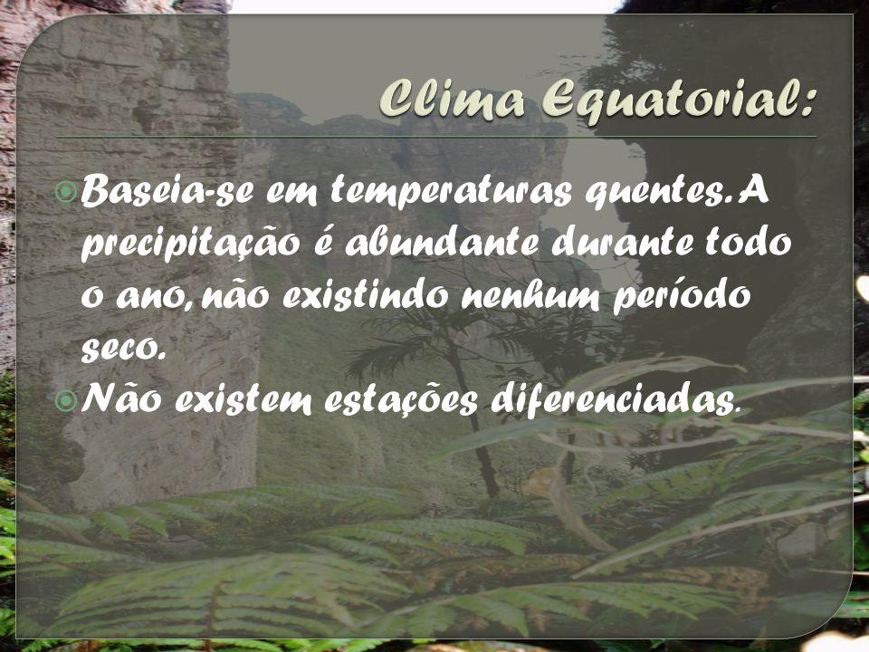 Clima Equatorial: Baseia-se em temperaturas quentes. A precipitação é abundante durante todo o ano, não existindo nenhum período seco.