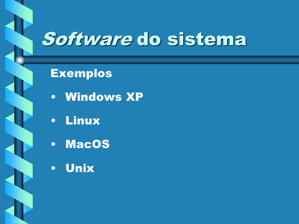 Software do sistema Exemplos Windows XP Linux MacOS Unix