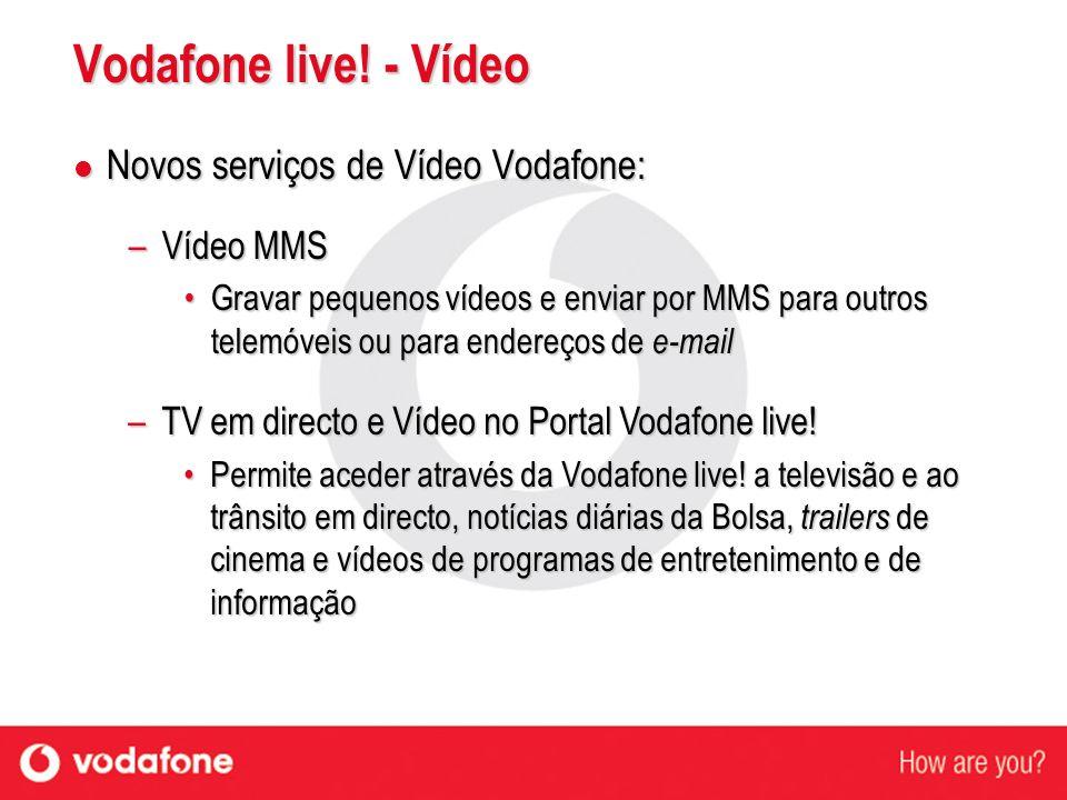 Vodafone live! - Vídeo Novos serviços de Vídeo Vodafone: Vídeo MMS