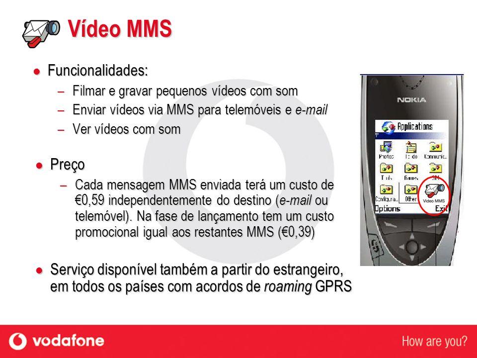 Vídeo MMS Funcionalidades: Preço