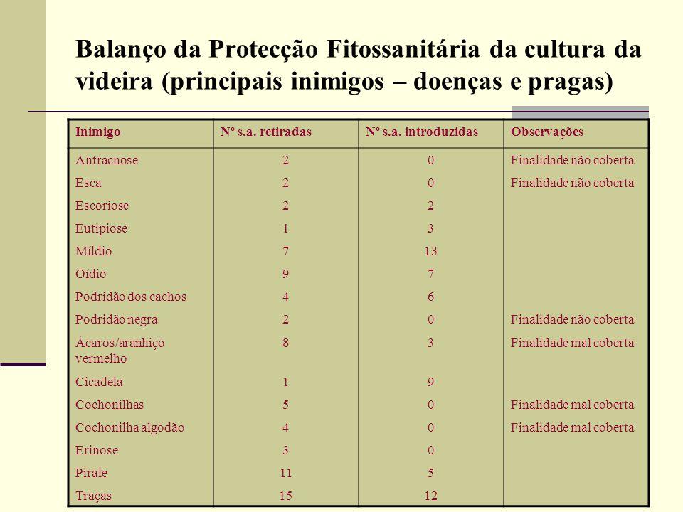 Balanço da Protecção Fitossanitária da cultura da videira (principais inimigos – doenças e pragas)