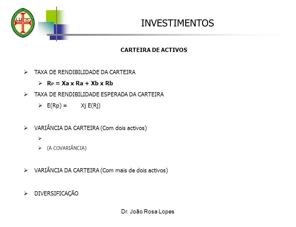 TAXA DE RENDIBILIDADE DA CARTEIRA RP = Xa x Ra + Xb x Rb