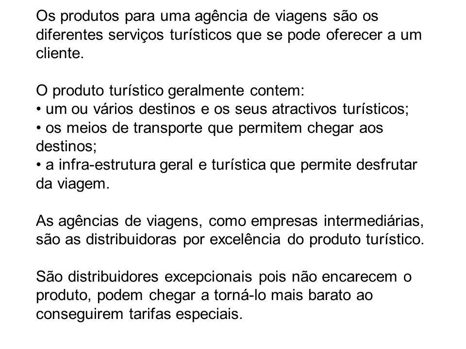 Os produtos para uma agência de viagens são os diferentes serviços turísticos que se pode oferecer a um cliente.