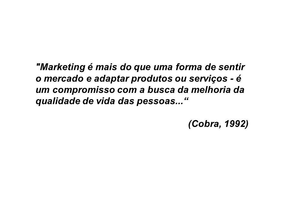 Marketing é mais do que uma forma de sentir o mercado e adaptar produtos ou serviços - é um compromisso com a busca da melhoria da qualidade de vida das pessoas...