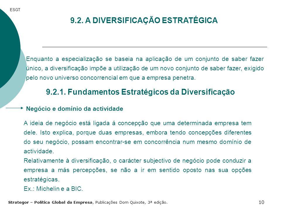 9.2. A DIVERSIFICAÇÃO ESTRATÉGICA