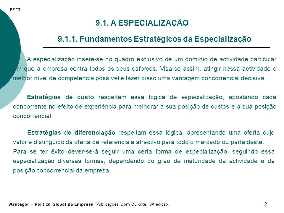 9.1.1. Fundamentos Estratégicos da Especialização