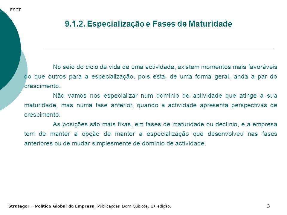 9.1.2. Especialização e Fases de Maturidade