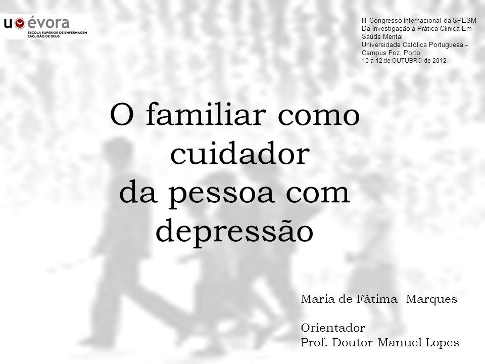 O familiar como cuidador da pessoa com depressão