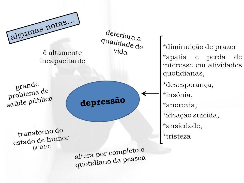 depressão algumas notas… deteriora a qualidade de vida