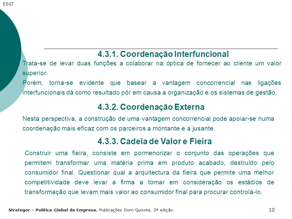 4.3.1. Coordenação Interfuncional