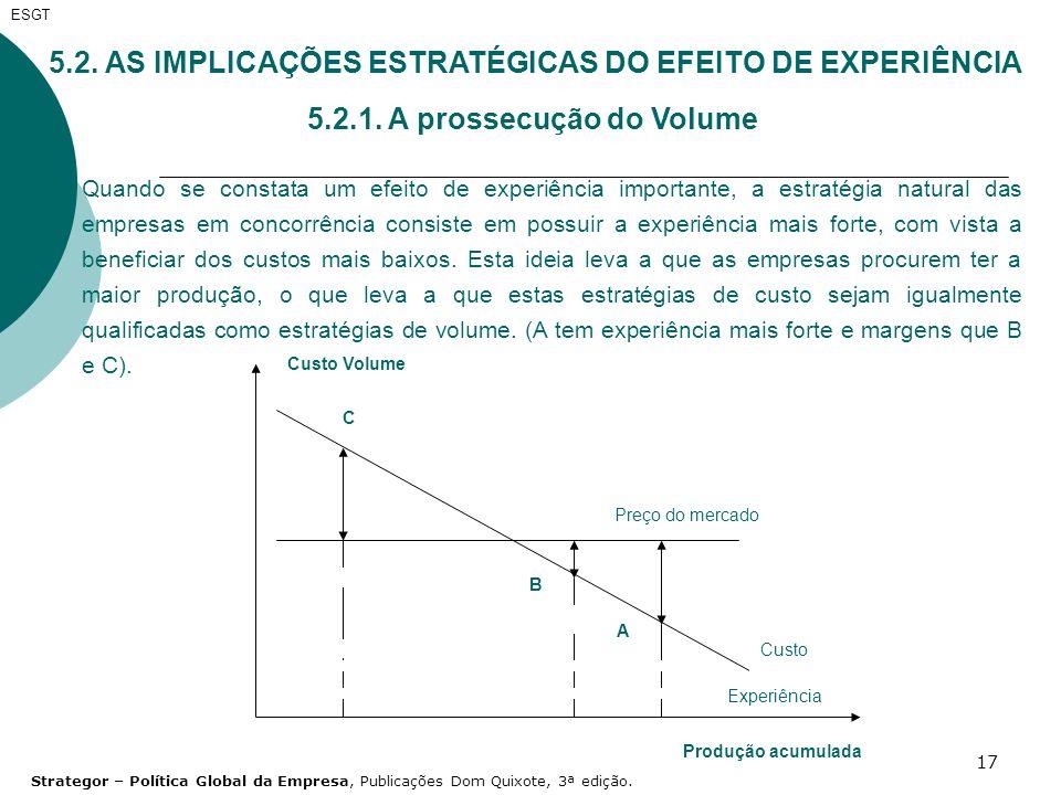 5.2. AS IMPLICAÇÕES ESTRATÉGICAS DO EFEITO DE EXPERIÊNCIA
