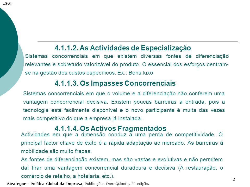 4.1.1.2. As Actividades de Especialização