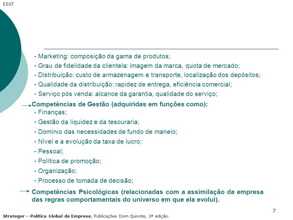 - Marketing: composição da gama de produtos;