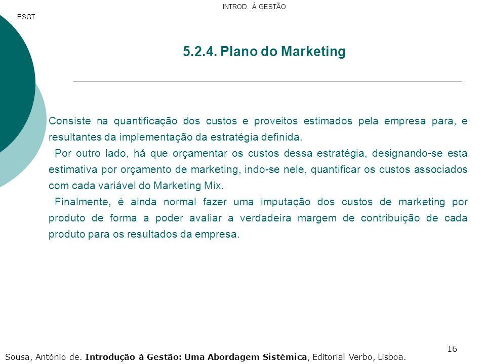 INTROD. Á GESTÃO ESGT. 5.2.4. Plano do Marketing.