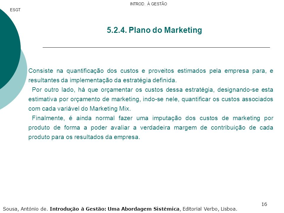 INTROD. Á GESTÃOESGT. 5.2.4. Plano do Marketing.