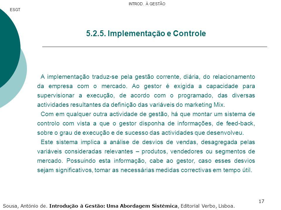 5.2.5. Implementação e Controle