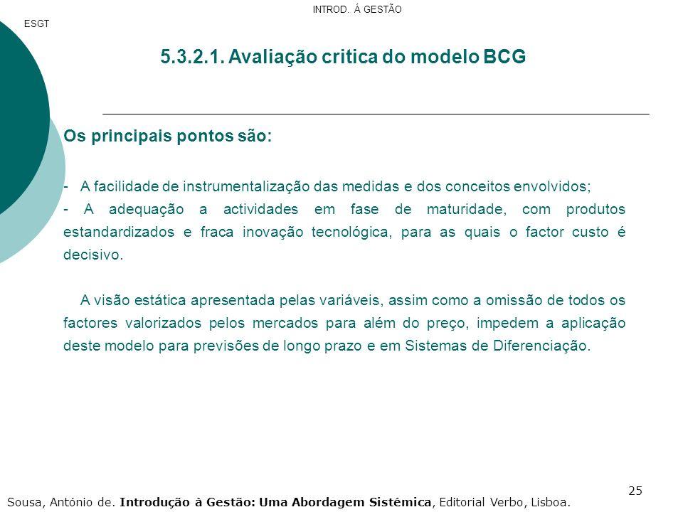 5.3.2.1. Avaliação critica do modelo BCG
