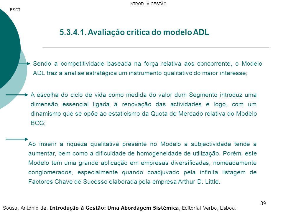 5.3.4.1. Avaliação critica do modelo ADL