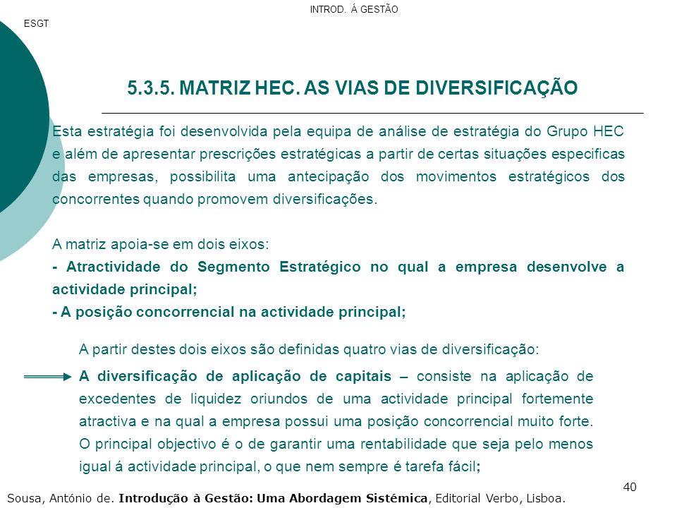 5.3.5. MATRIZ HEC. AS VIAS DE DIVERSIFICAÇÃO