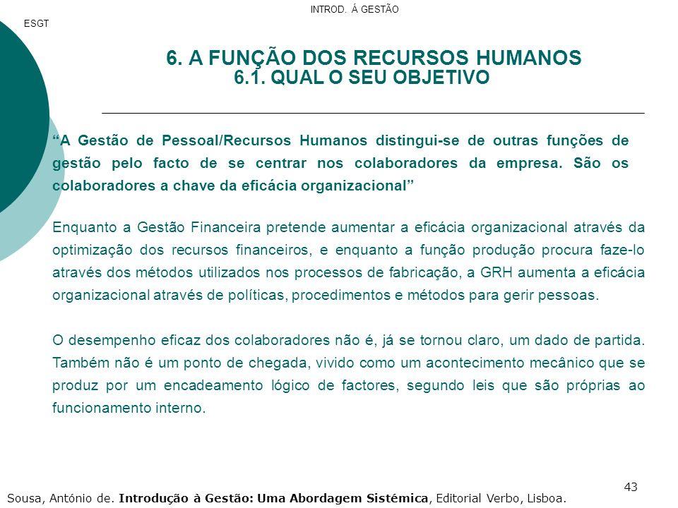 6. A FUNÇÃO DOS RECURSOS HUMANOS