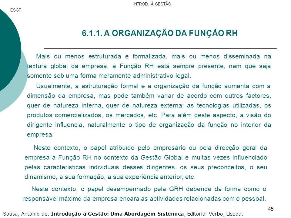 6.1.1. A ORGANIZAÇÃO DA FUNÇÃO RH