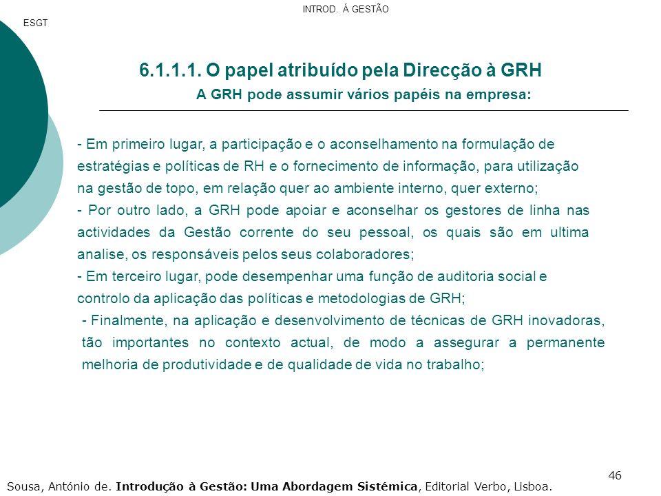 6.1.1.1. O papel atribuído pela Direcção à GRH