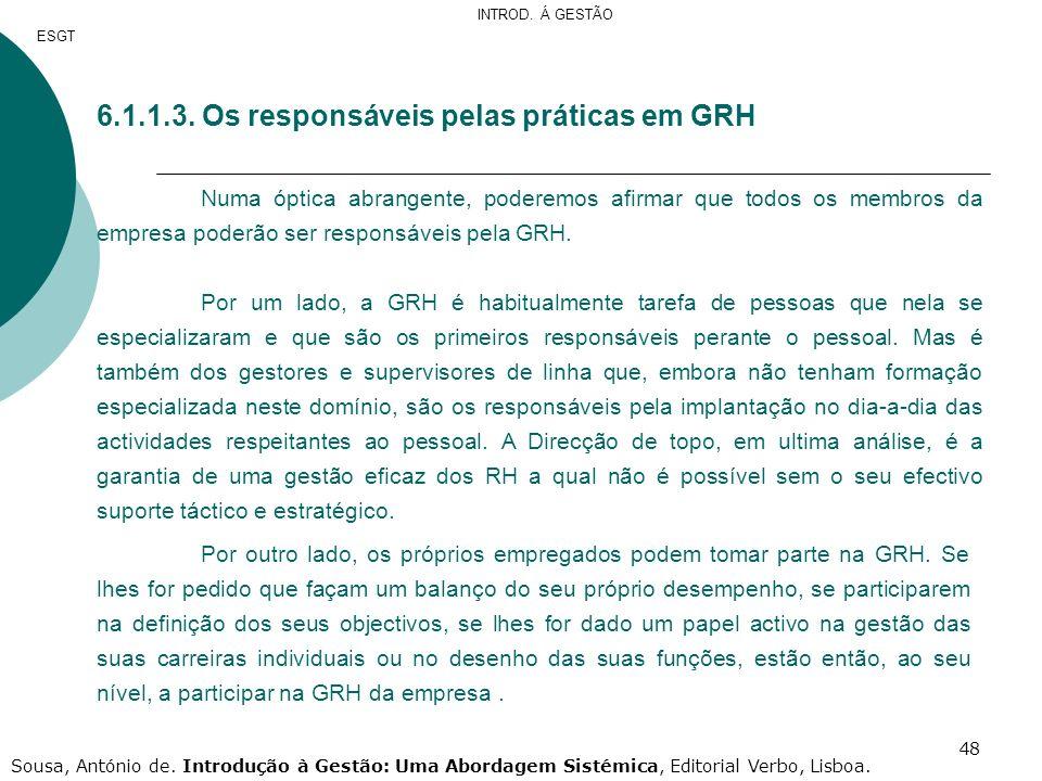 6.1.1.3. Os responsáveis pelas práticas em GRH
