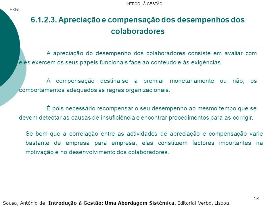 6.1.2.3. Apreciação e compensação dos desempenhos dos colaboradores