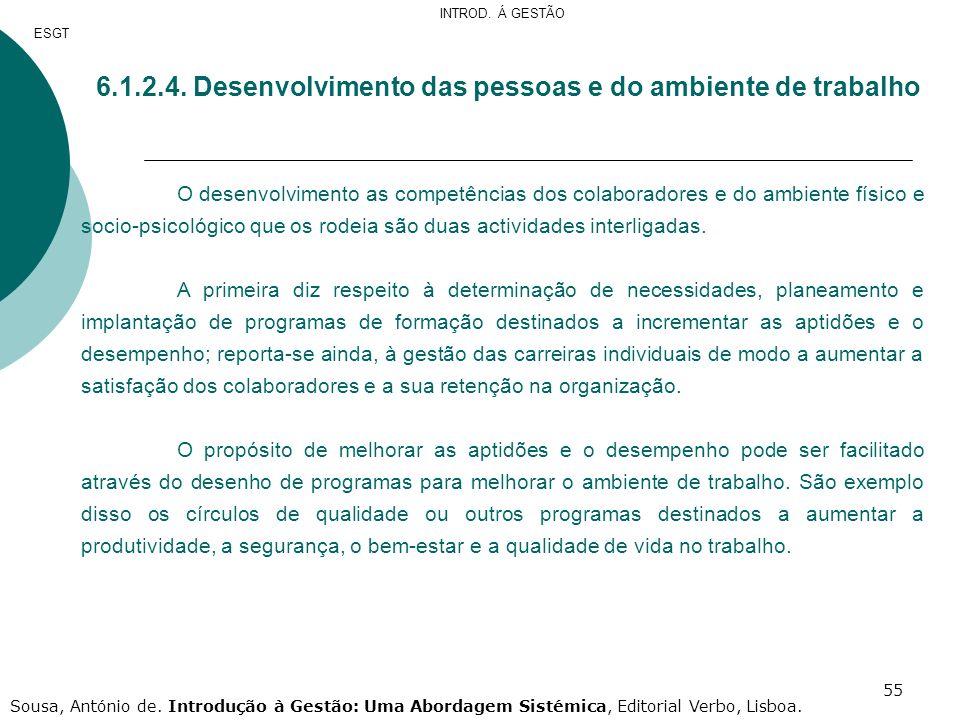 6.1.2.4. Desenvolvimento das pessoas e do ambiente de trabalho