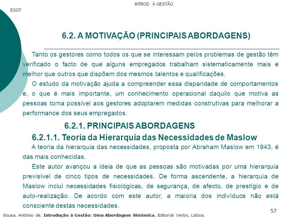6.2. A MOTIVAÇÃO (PRINCIPAIS ABORDAGENS)
