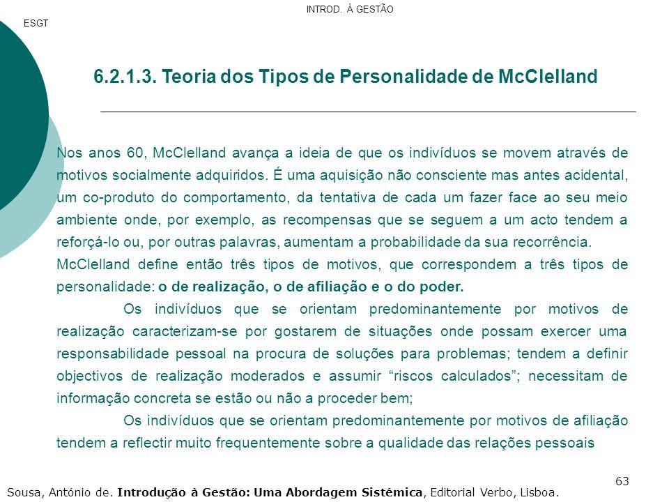 6.2.1.3. Teoria dos Tipos de Personalidade de McClelland