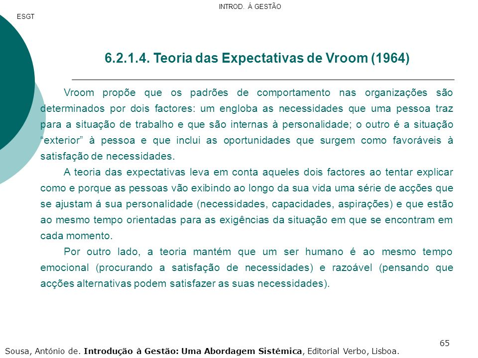 6.2.1.4. Teoria das Expectativas de Vroom (1964)