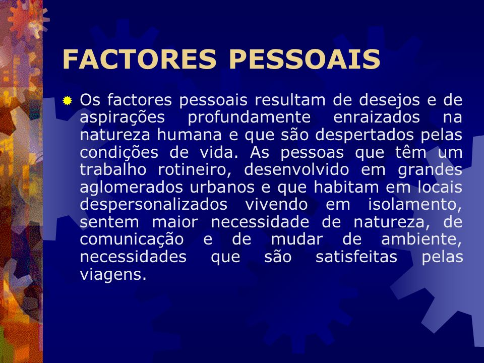 FACTORES PESSOAIS
