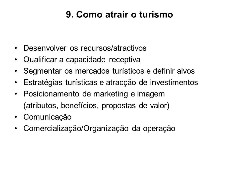 9. Como atrair o turismo Desenvolver os recursos/atractivos