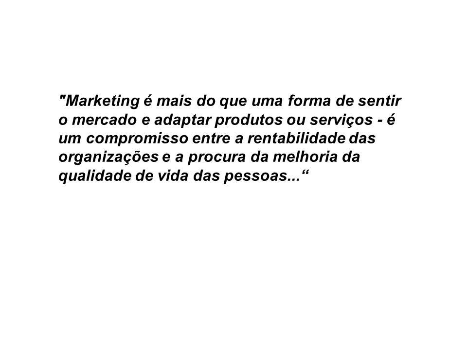 Marketing é mais do que uma forma de sentir o mercado e adaptar produtos ou serviços - é um compromisso entre a rentabilidade das organizações e a procura da melhoria da qualidade de vida das pessoas...