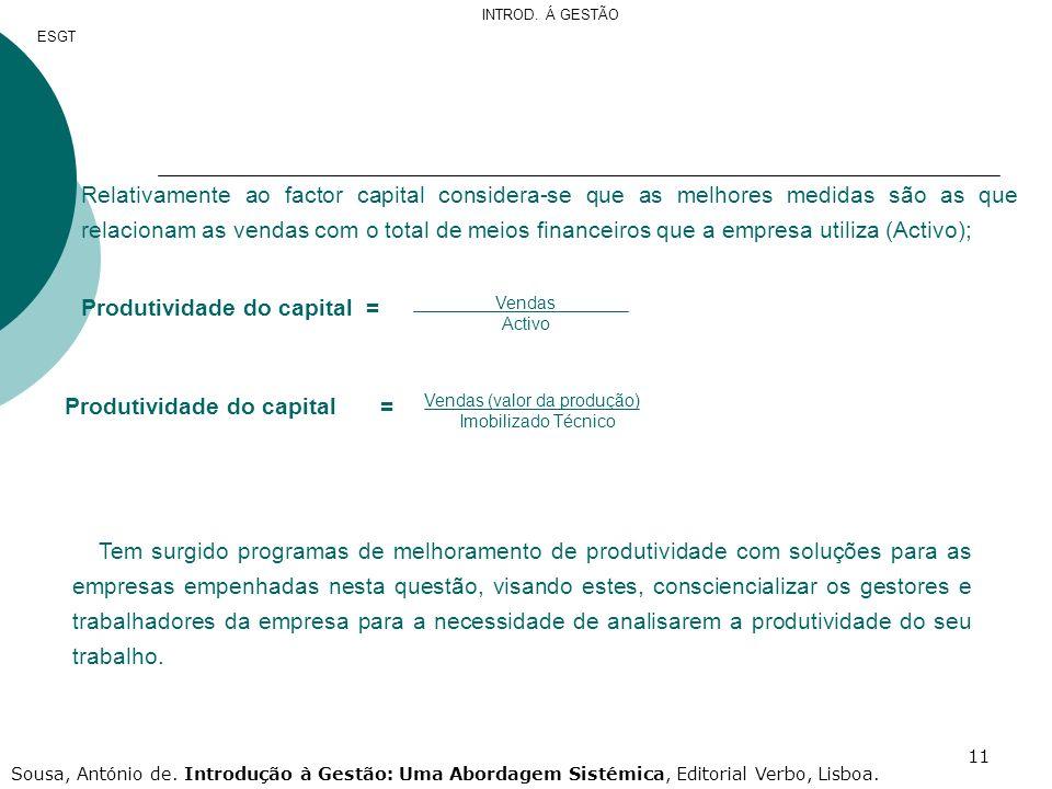 Produtividade do capital =