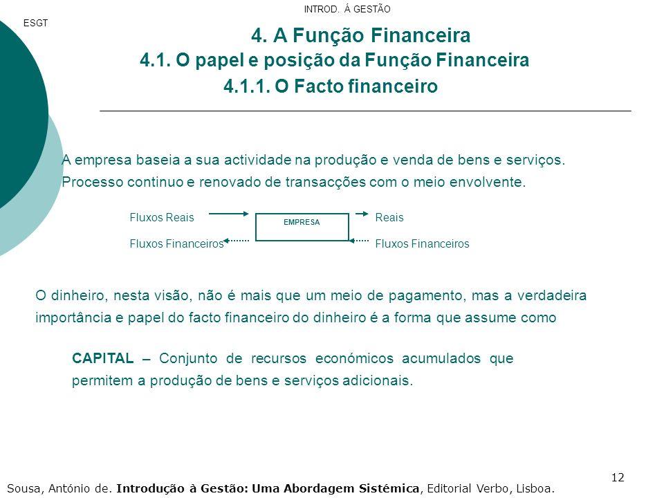 4. A Função Financeira 4.1. O papel e posição da Função Financeira