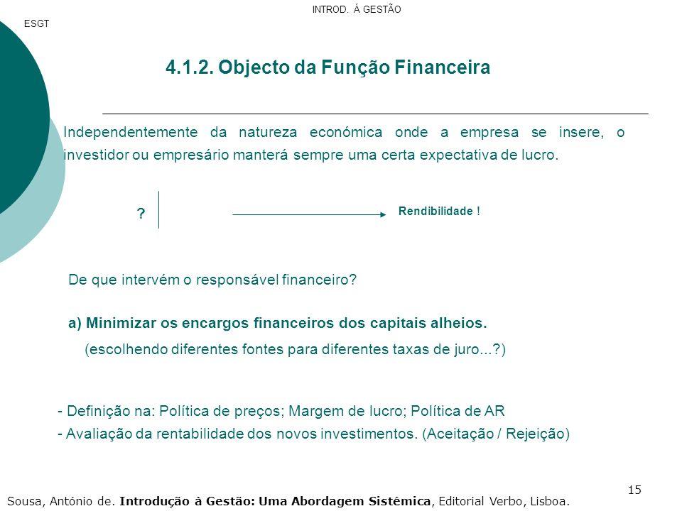 4.1.2. Objecto da Função Financeira