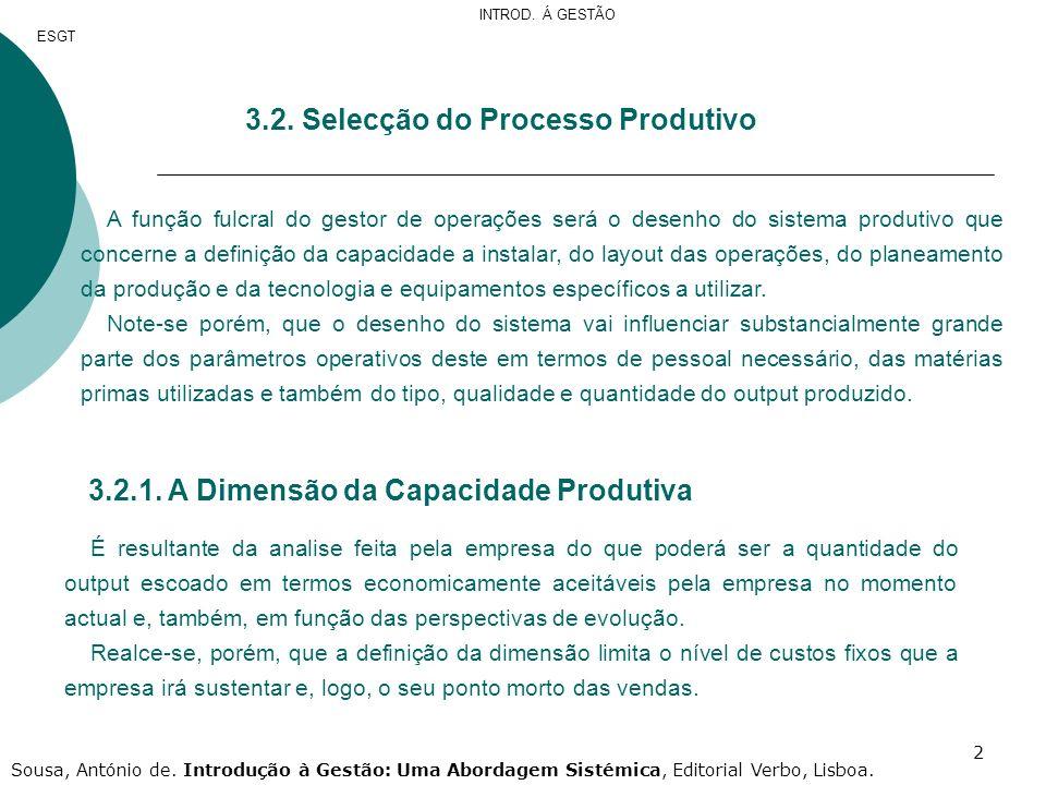 3.2. Selecção do Processo Produtivo